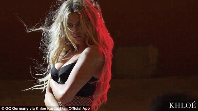 Naughty: Khloe Kardashian has all the makings of a Victoria's Secret model. The 32-year-old proved that on Thursday when she shared a lusty video to her site khloewithak.com