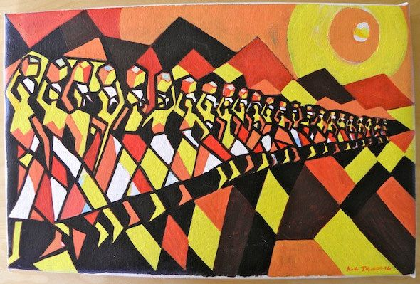 Water Bearers - Acrylic Painting Artwork by Hadeda on Etsy