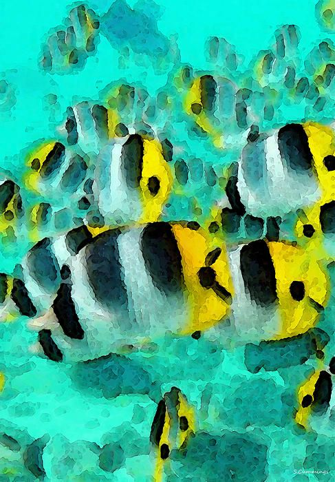 Tropical Fish - Schools Out Painting by Sharon Cummings - Tropical Fish - Schools Out Fine Art Prints and Posters for Sale