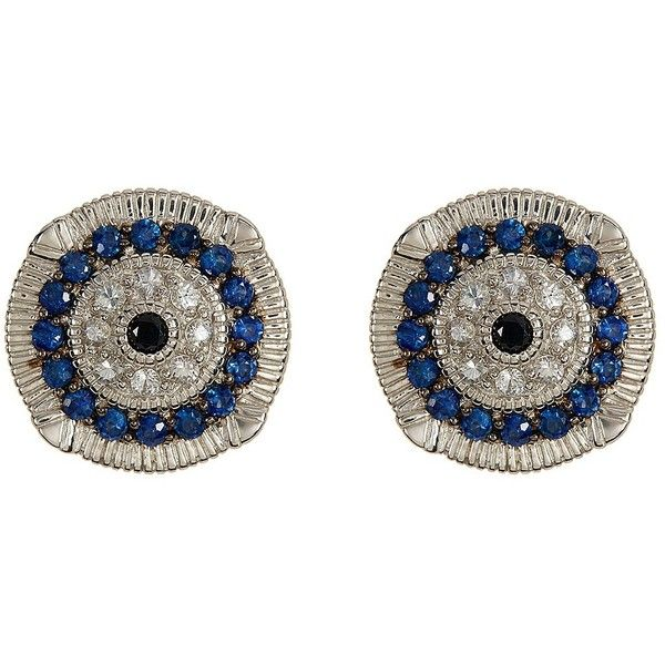 Judith Ripka Sterling Silver Sapphire Evil Eye Earrings (350 AUD) ❤ liked on Polyvore featuring jewelry, earrings, no color, white jewelry, white sapphire earrings, evil eye earrings, blue jewelry and sterling silver jewelry