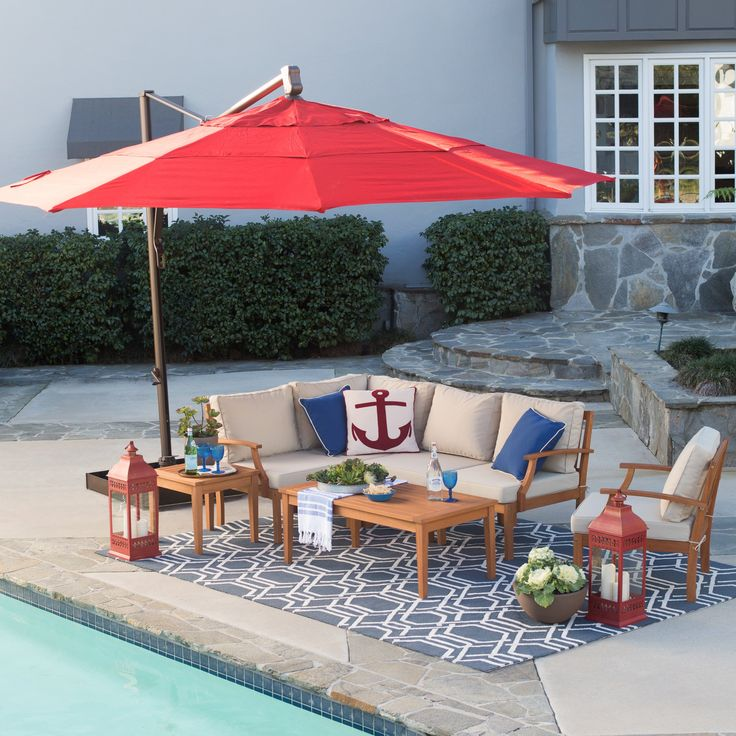 Belham Living Sunbrella 13-ft. Rotating Offset Umbrella with Tilt and Base | from hayneedle.com