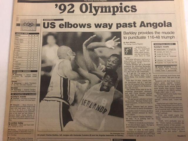 Dream team 1992 Olympics NBA Star Charles Barkely ANGOLA 116-48 w/ Clyde Drexler
