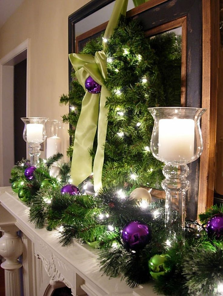 Decor Ideas, Christmas Fireplaces, Purple Christmas, Christmas Decor ...