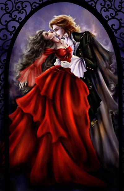 fairy vampire pictures | New Painting: Vampire's Kiss | The Fairy Godfather's Sketch Journal