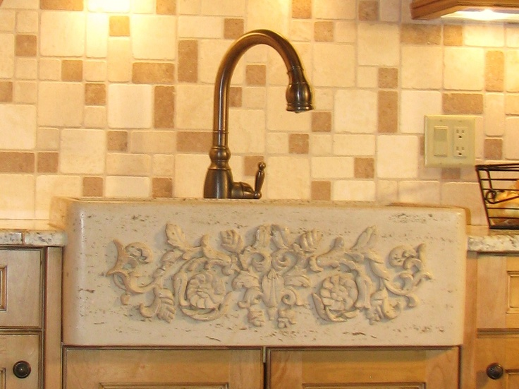 carved stone farm sink home Pinterest