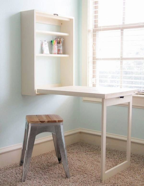 Create a mini office or craft table on any wall, anyplace in the house with this fold down desk. Made from solid wood , this fold up desk converts into a mountable cabinet you can easily fold away to free up floor space. Legs do fold out and lock into place. A drop-down leg provides a stable surface to write or type, and an attached latch keeps the cabinet securely closed between uses. The desk will include 4 shelves that will be completely adjustable, and a chalk board to leave notes…