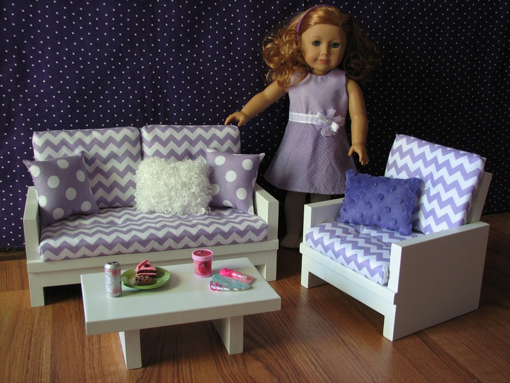 American Girl Sized Living Room 18 Doll Furniture Loveseat Chair Coffee Table