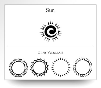 Variation of the Sun symbol as depicted on Atelier Leseine Tahitian carved black pearls.