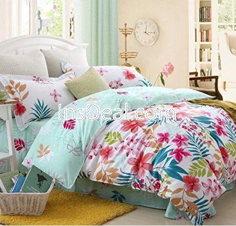 Wonderful Buy Full Size Beach Bedding Sets,Girls Colorful Flower Print Bedding Set,4Pcs  ,