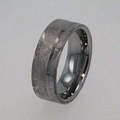 Meteorite Ring Tungsten Wedding Band inlaid with by jewelrybyjohan, $816.00