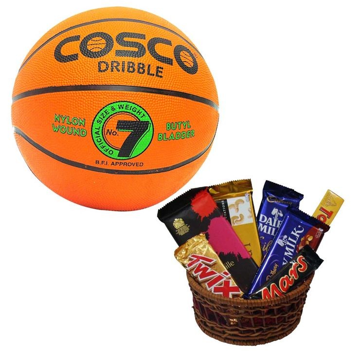 Gift Pack of Rakhi,Choclates and Basketball:-  # A Car shaped Rakhi with glowing light, which can later be used as Keyring. Kit also includes a pack of Chawal, Mishri, Roli & Chandan  # 16  Ferrero Rocher Choclates  # one Cosco Basketball (size-7)