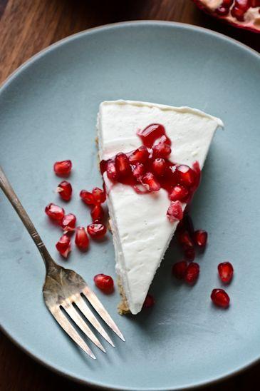 BLISS - blissful eats with tina jeffers: Greek yogurt cheesecake with pomegranatesyrup
