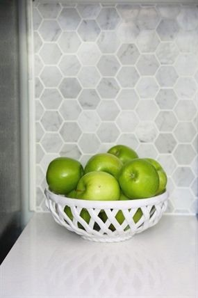 Best Apples In A Bowl Carrara Marble Hexagon Backsplash 640 x 480