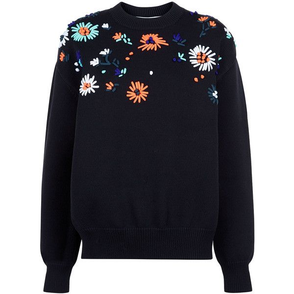 Victoria By Victoria Beckham Black Flower Embroidered Knit Sweater (126.975 HUF) ❤ liked on Polyvore featuring tops, sweaters, jumper, shirts, jackets, oversized long sleeve shirts, boyfriend sweater, oversized boyfriend shirt, flower print shirt and long-sleeve shirt