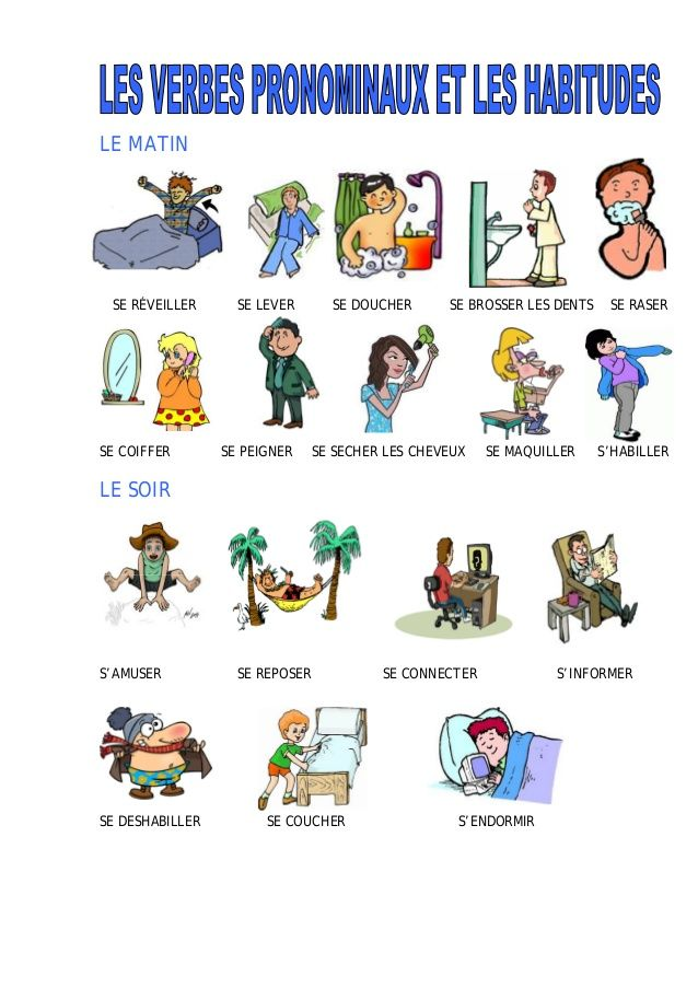 Les verbes pronominaux | French flashcards, French language lessons, Learn french