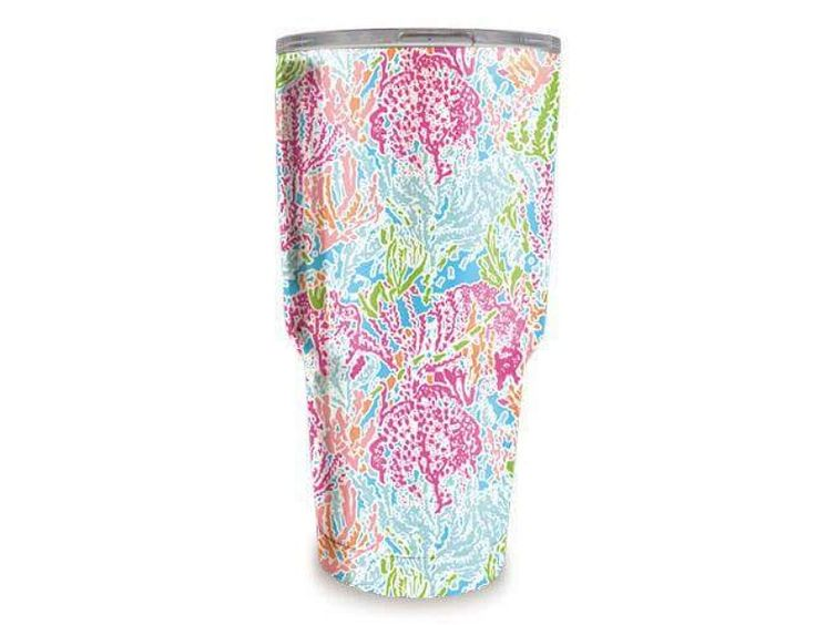 """30 oz Lilly Pulitzer Inspired Printed Stainless Steel Tumbler in """"Coral"""" pattern Hydro-dipped double wall stainless steel tumbler. Other styles listed separately Par to Yeti, Ozark, RTIC Closable slide lid - Slide lid can be removed for easy lid cleaning"""
