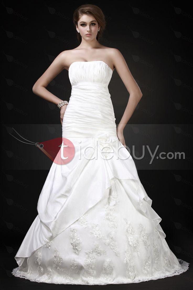 Aラインストラップレス床まで届く長さチャペルピックアップレーストリミングウェディングドレス
