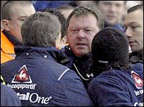 Sheffield United boss Neil Warnock is confronted by Reading's coach Wally Downes in a touch line disagreement as tempers flare after a tackle by Reading's Steve Sidwell on Chris Armstrong in January 2007. Reading won 3-1.