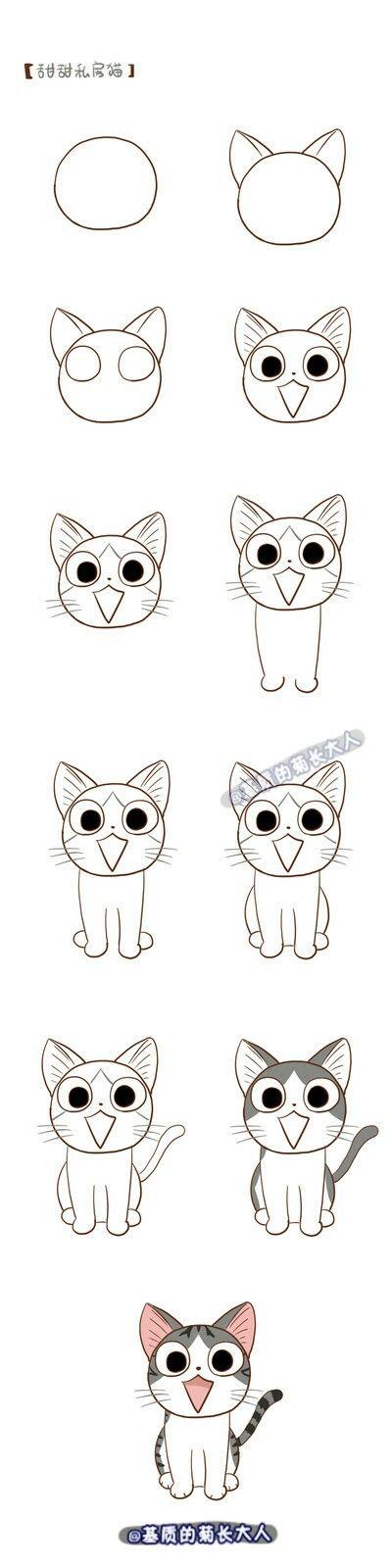 tutorial de como desenhar um gato