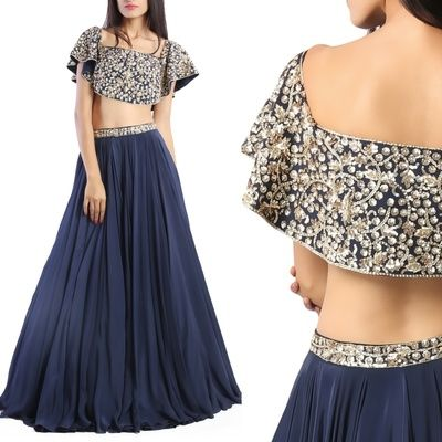 cape lehenga, blue lehenga with cape, blue lehenga with silver motifs