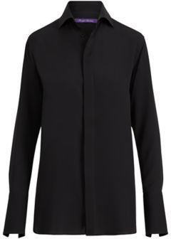 Ralph Lauren Thompson Silk Georgette Shirt Black 4