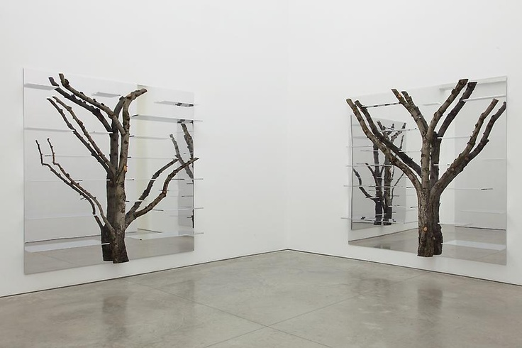 If It's Hip, It's Here: Mondrianesque Metal Shelving By Andrea Branzi Incorporates Real Birch Trees.