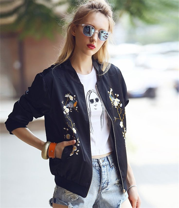 Find More Basic Jackets Information about 2016 Fashion Bird Plum Flower Embroidery Womens Bomber Jacket Baseball Ladies Pilots Outerwear Harajuku Black Coat,High Quality coats bell,China jacket coat men Suppliers, Cheap coated drill from Fall in love with you dress on Aliexpress.com