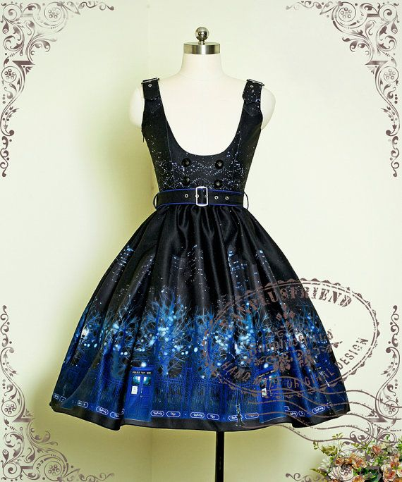 Time Lord: Cyber Gothic Tardis Underbust Dress/JSK*Free Express Shipping
