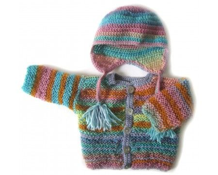 KSS Autumn Leaves Sweater/Jacket with a Hat (6 Months)