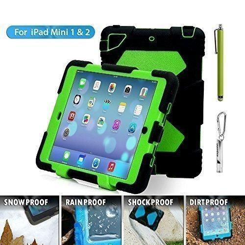 Aceguarder global design new products iPad mini 1&2&3 case snowproof waterproof dirtproof shockproof cover case with stand Super protection for kids Outdoor adventure sports tourism Gifts Outdoor Carabiner  whistle  handwritten touch pen (ACEGUARDER brand) (Black/Green)