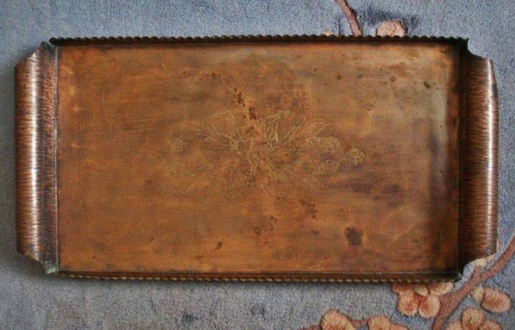Magnificent ARTS & CRAFTS Signed ETCHED Hand Crafted COPPER Rich PATINA Big TRAY