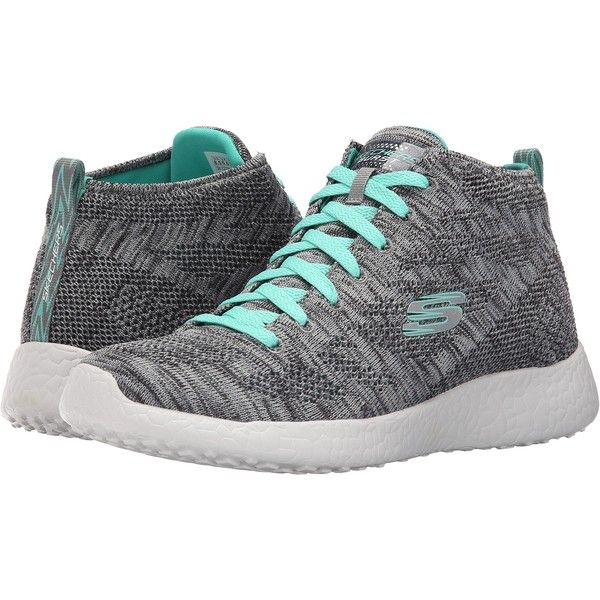 SKECHERS Burst - Grassy (Gray) Women's Lace up casual Shoes ($60) ❤ liked on Polyvore featuring shoes, athletic shoes, grey, laced shoes, grey shoes, skechers footwear, skechers and light weight shoes
