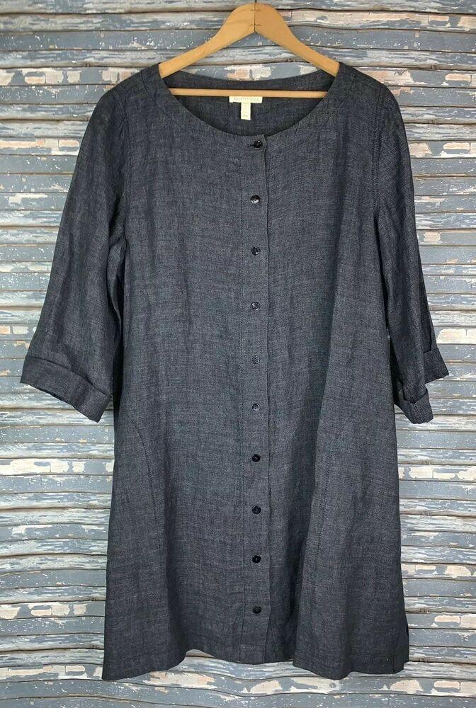 Eileen Fisher 100 Organic Linen Navy Blue Button Up Tunic Shirt Dress Size Med Eileenfisher Shir Organic Cotton Shirt High Low Shirt Dress Tunic Shirt Dress