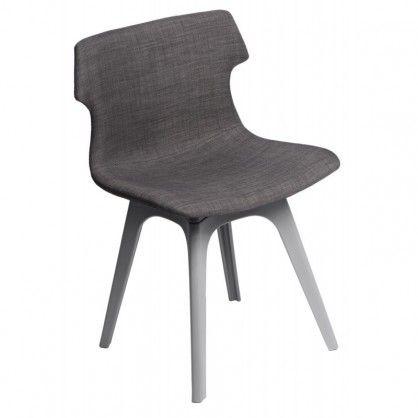 Krzesło Techno tapicerowane brązowe, podstawa szara
