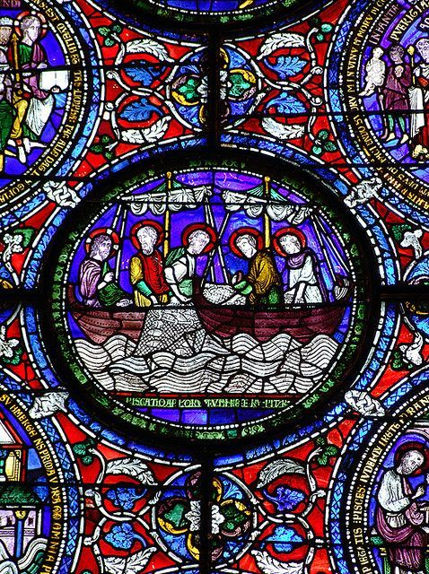 Jesus And Disciples Fishing Medieval Stained Glass Detail Canterbury Cathedral Late 12th Century