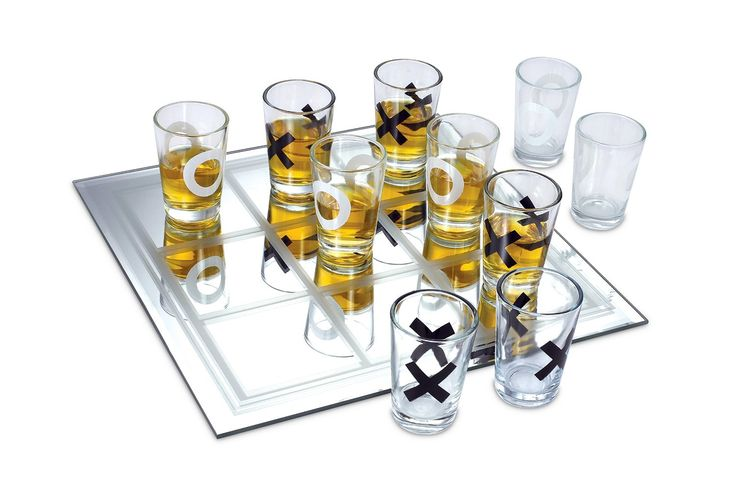 Tic-Tac-Toe Shot Glass Game - Easy 2-Player Drinking Game