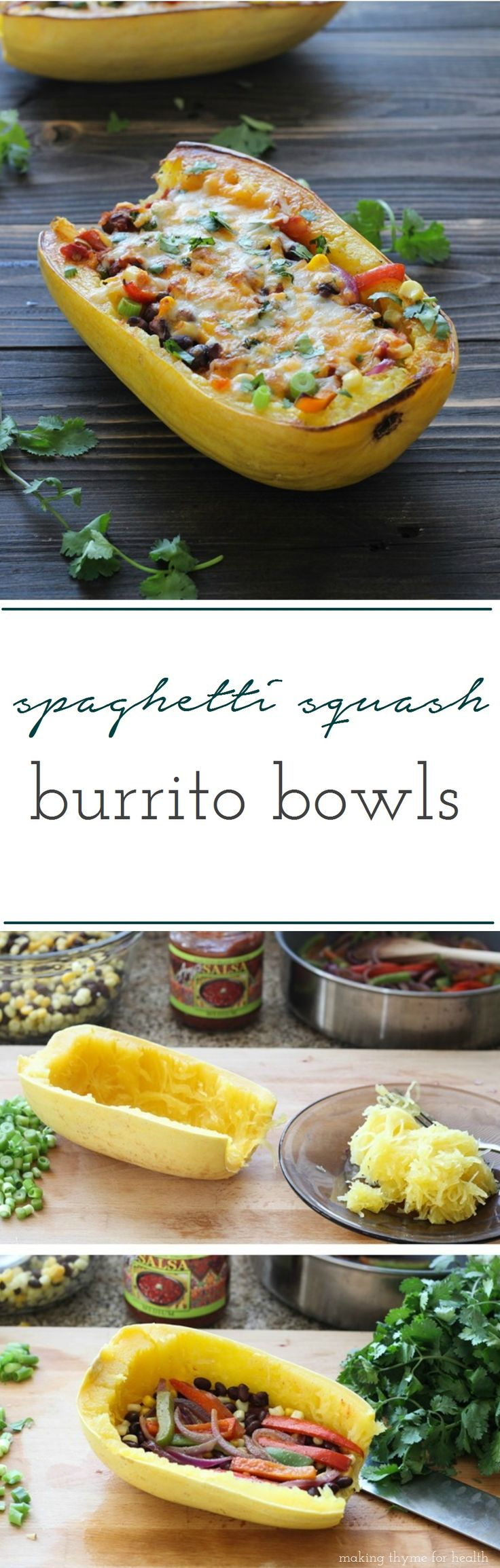 Spaghetti Squash Burrito Bowls- a healthy meal that's easy and delicious! #lowcarb #cleaneating #glutenfree