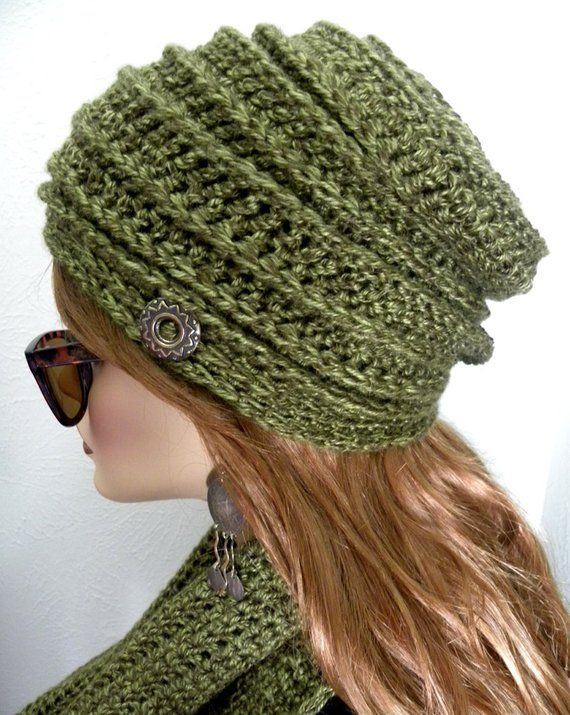 7849c652 Hat & Infinity Scarf Olive green hat set Cloche hat   Etsy ...