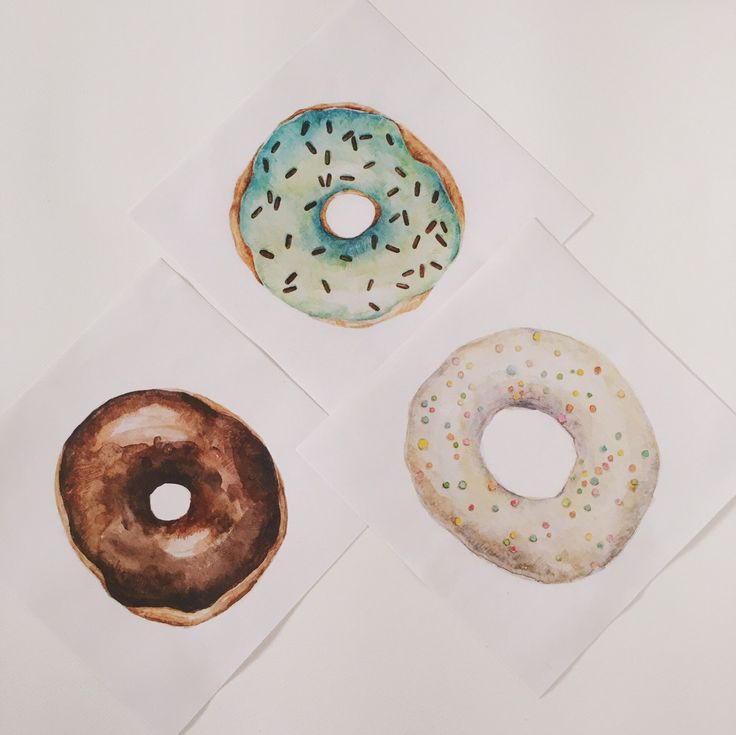 A personal favorite from my Etsy shop https://www.etsy.com/ru/listing/280469864/watercolor-glazed-donuts-set-of-tree