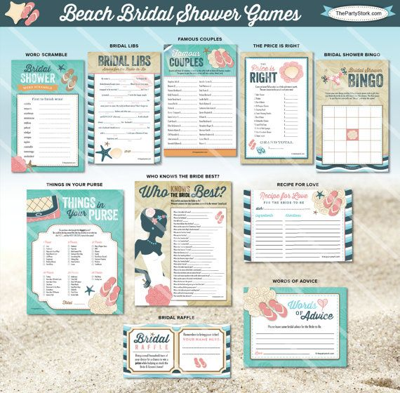 Beach Bridal Shower Games   Printable Wedding Shower Game   Blue Tan   ONE GAME You Choose   Invitation & Decorations Available