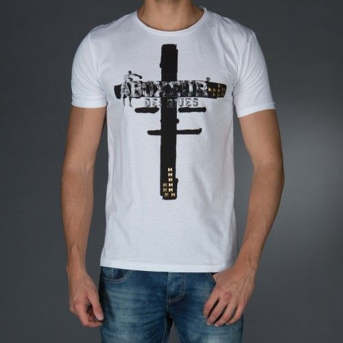 T-shirt with wide collar.Big print on front tone on tone.Studs application on front.  € 34.90