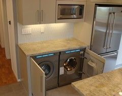 washer and dryer in kitchen layouts