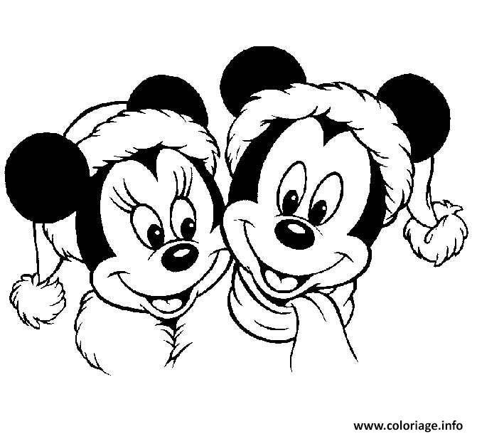 Coloriage Mickey Mouse Disney Noel 2 Dessin à Imprimer