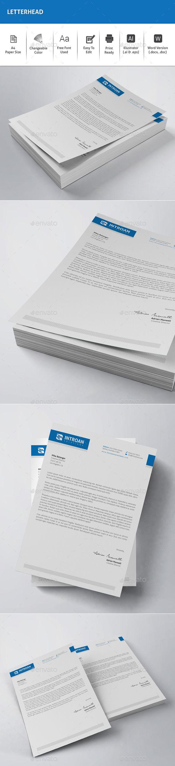 #Letterhead - Stationery Print #Templates Download here: https://graphicriver.net/item/letterhead/19363351?ref=alena994