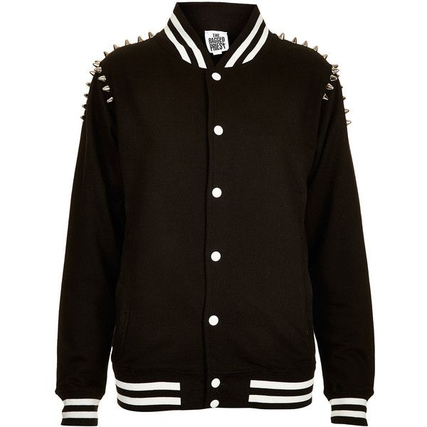 **Denva Jacket by The Ragged Priest ($38) ❤ liked on Polyvore featuring outerwear, jackets, vestes, black, casacos, studded letterman jacket, varsity bomber jacket, cotton varsity jacket, varsity jacket and varsity-style bomber jacket