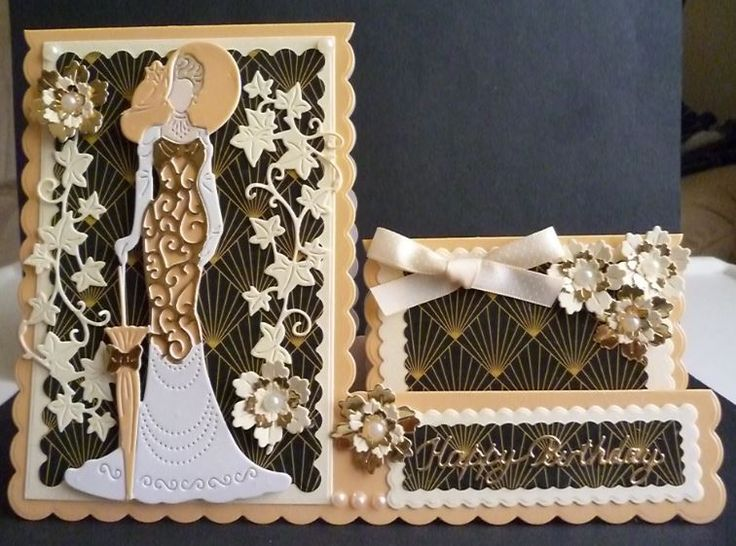 Card made using the Style and Elegance lady die Mary and using the Side Stepper card die