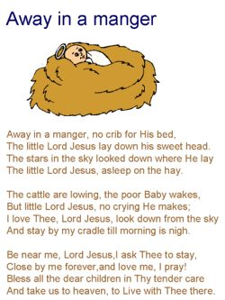 Away in a Manger lyrics coloring page