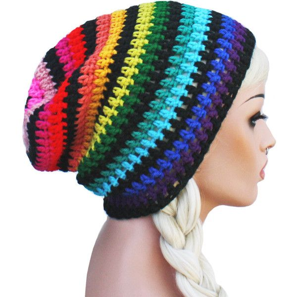 Rainbow Slouch Beanie Crochet Slouch Striped Beanie Hat Gay Pride ($23) ❤ liked on Polyvore featuring accessories, hats, slouch hat, crochet beanie cap, rainbow beanie, beanie cap and slouchy beanie