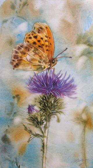 """A painting a day #1 """"butterfly with thistle"""""""