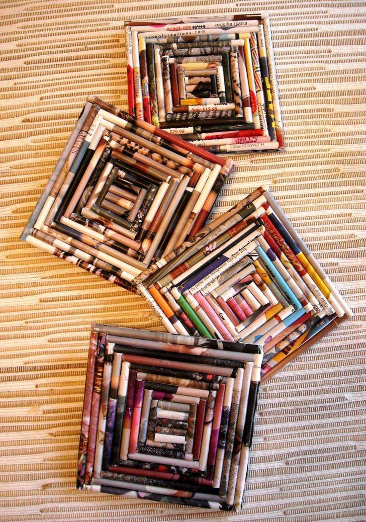 Portavasos de revistas recicladas                              …                                                                                                                                                     Más